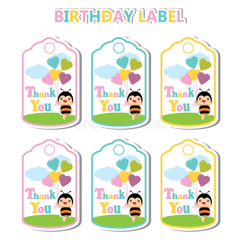 Birthday Label with cute bee and colorful heart balloons suitable for Birthday label vector illustration
