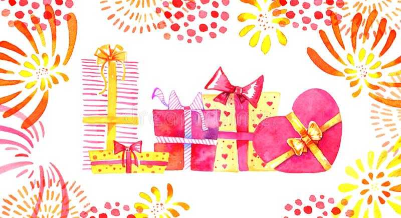 Group of gift boxes with confetti and fireworks. Hand drawn cartoon watercolor sketch illustration stock illustration
