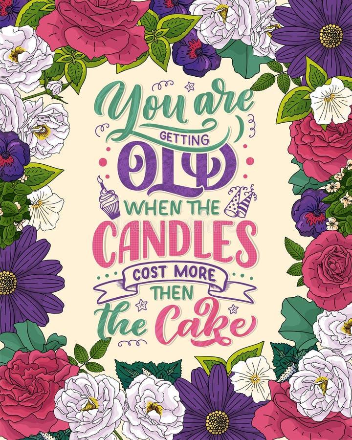 Birthday lettering in retro style. Anniversary invitation card. Vintage invitation template for celebration design. Funny quote. Birthday lettering in retro vector illustration