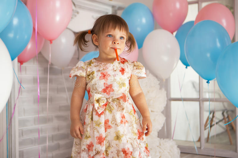 Birthday of little girl royalty free stock images