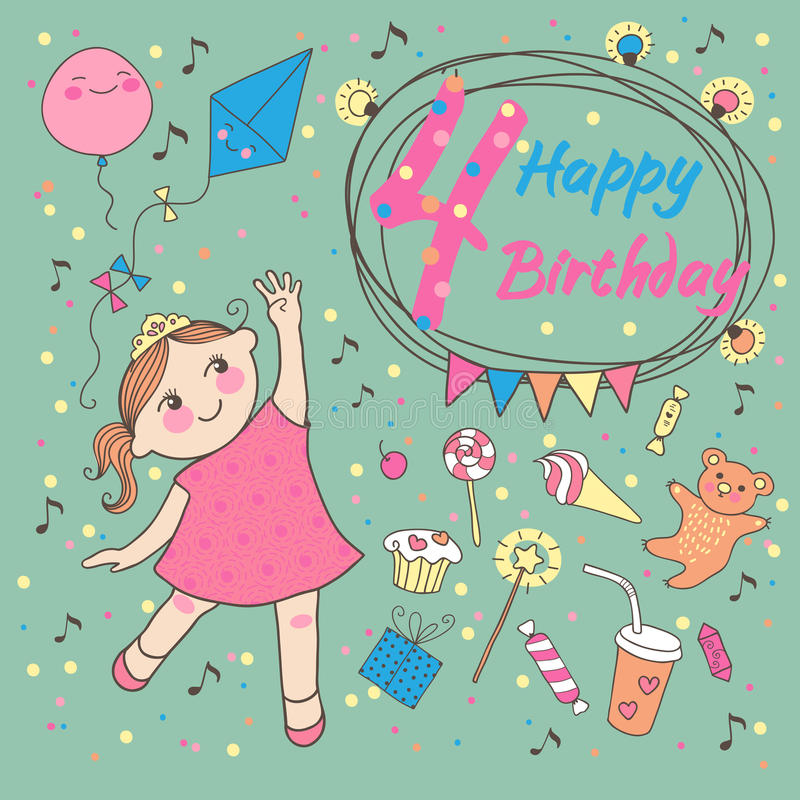 Birthday of the little girl 4 years. Greeting card. Or invitation for birthday party royalty free illustration