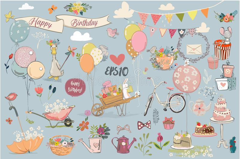 Birthday lovely elements collection royalty free illustration