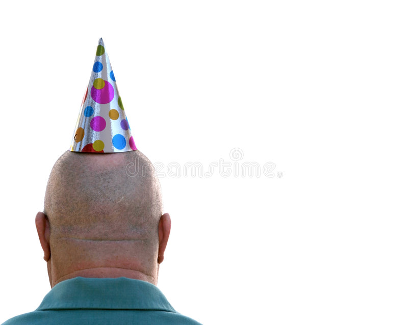 Birthday Man. Back of a bald headed mad with a birthday hat, isolated on white stock photos