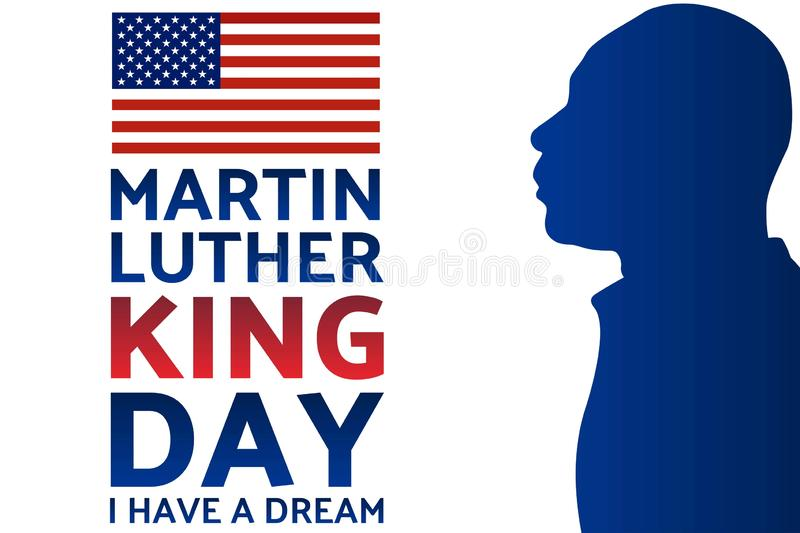 Birthday of Martin Luther King, Jr. MLK Day. Patriotic concept of holiday with silhouette. January 20. Template for royalty free illustration