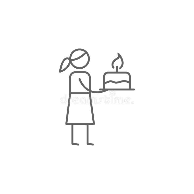 Birthday, mom icon. Element of family life icon. Thin line icon for website design and development, app development. Premium icon vector illustration