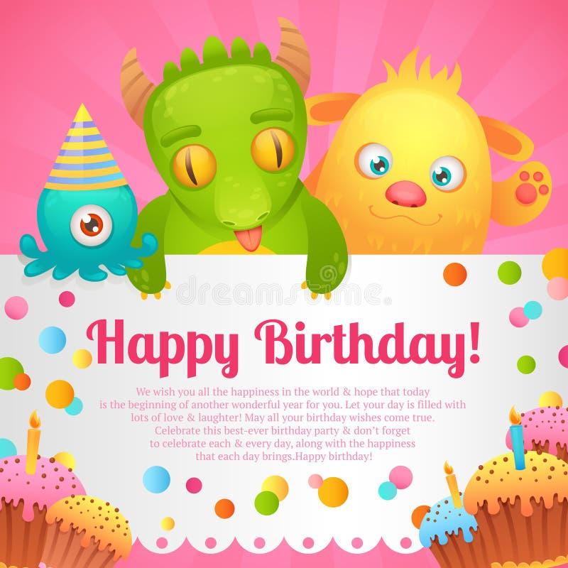 Birthday monsters card vector illustration