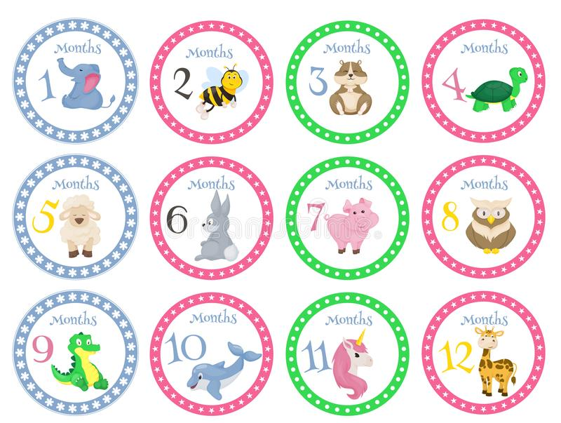 Birthday month stickers with animals for babies vector illustration vector illustration