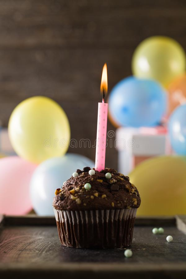 Birthday objects on wood royalty free stock image