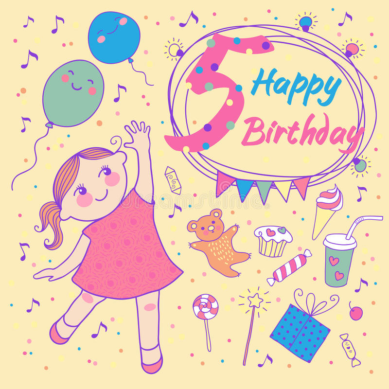 Free Birthday Of The Little Girl 5 Years. Greeting Card Royalty Free Stock Image - 31598626