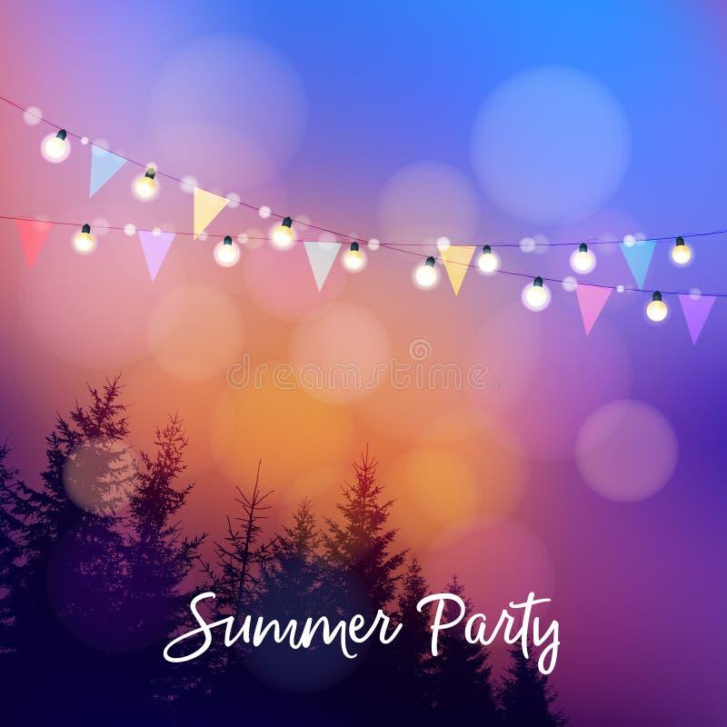 Birthday outdoor summer party or Brazilian june party, Festa junina, invitation. Vector illustration with string of. Birthday outdoor summer party or Brazilian royalty free illustration