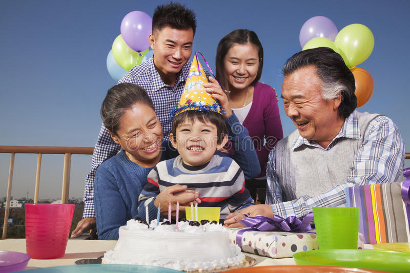 Birthday part, multi-generation family royalty free stock photography