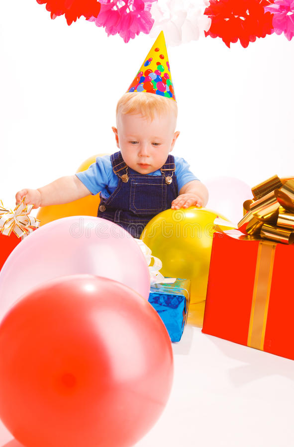 At birthday party stock photography