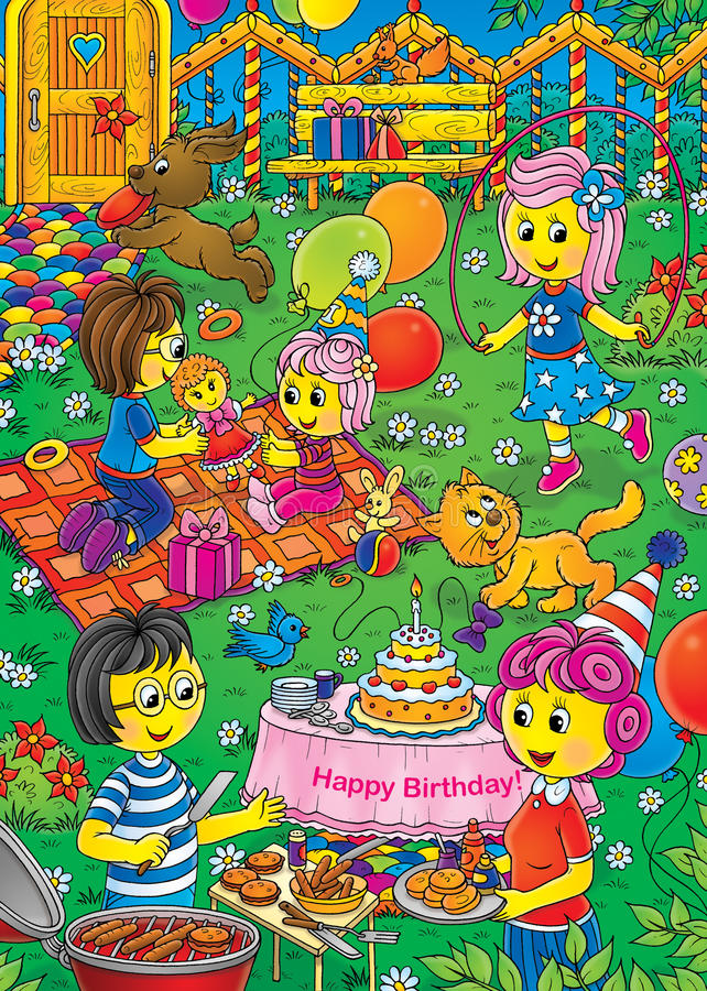 Download Birthday party stock illustration. Image of mommy, nursery - 10948031