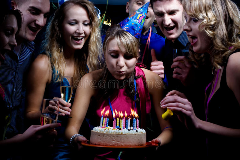 Birthday party. With many young people royalty free stock photography