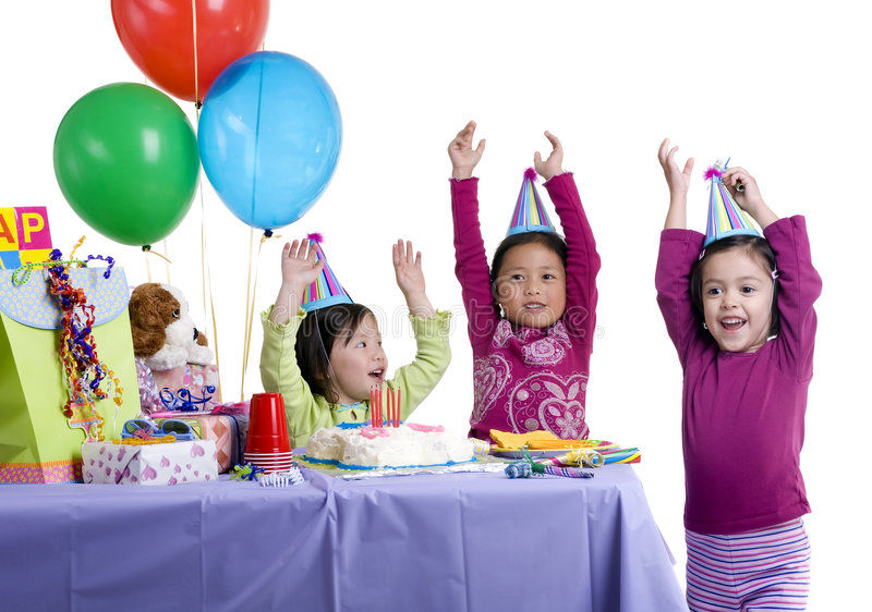 Birthday Party. The excitement of a birthday party, childhood, youth, sharing, friends royalty free stock image