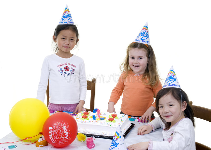 Birthday Party. A group of young children celebrate a birthday party stock photos