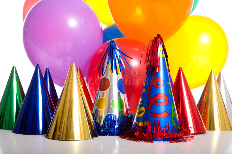 Birthday Party. Background with party hats, floating balloons and streamers royalty free stock photography