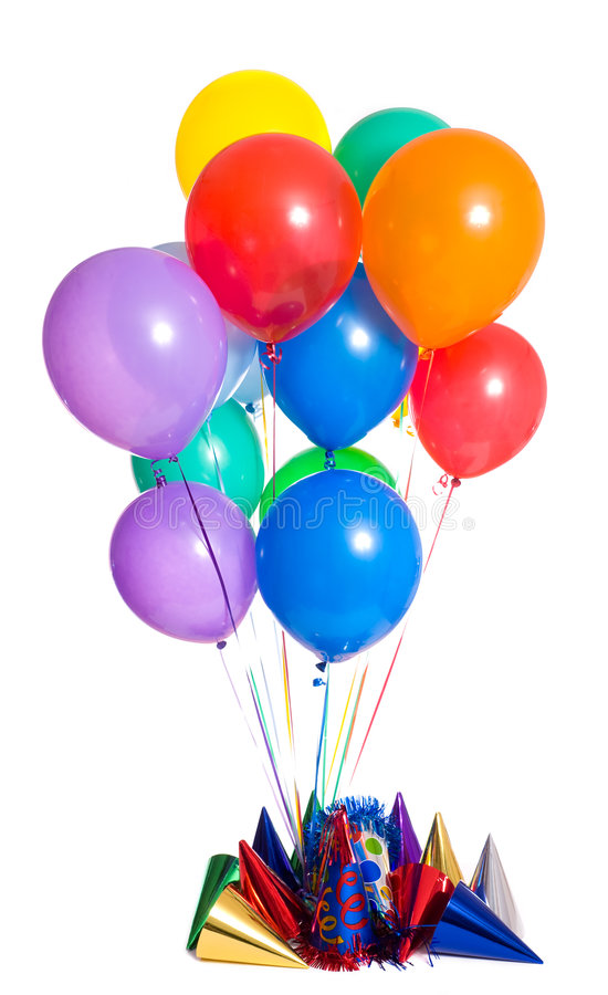 Birthday Party. Background with party hats, floating balloons and streamers royalty free stock image