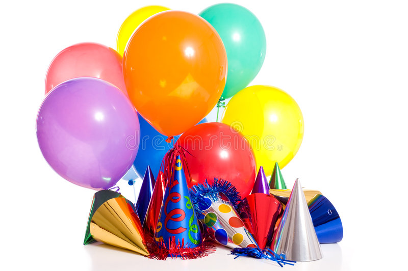 Birthday Party. Background with party hats, floating balloons and streamers stock photos