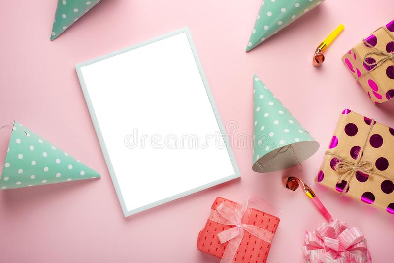 Birthday party background. Accessories for girls on a pink background. Invitation, birthday, girlhood party, baby shower concept, celebration. With frame for royalty free stock image