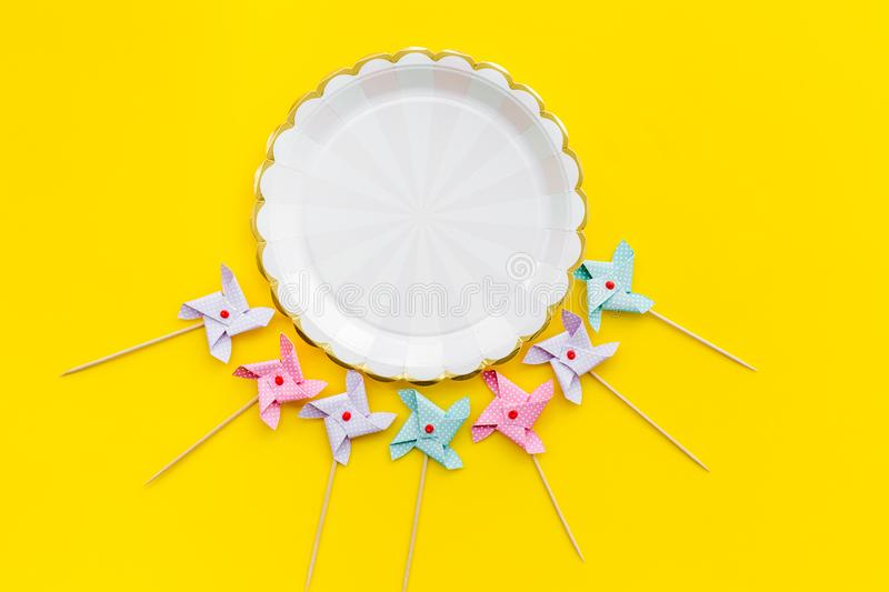 Birthday party background. Decoration on yellow top view mockup stock photos