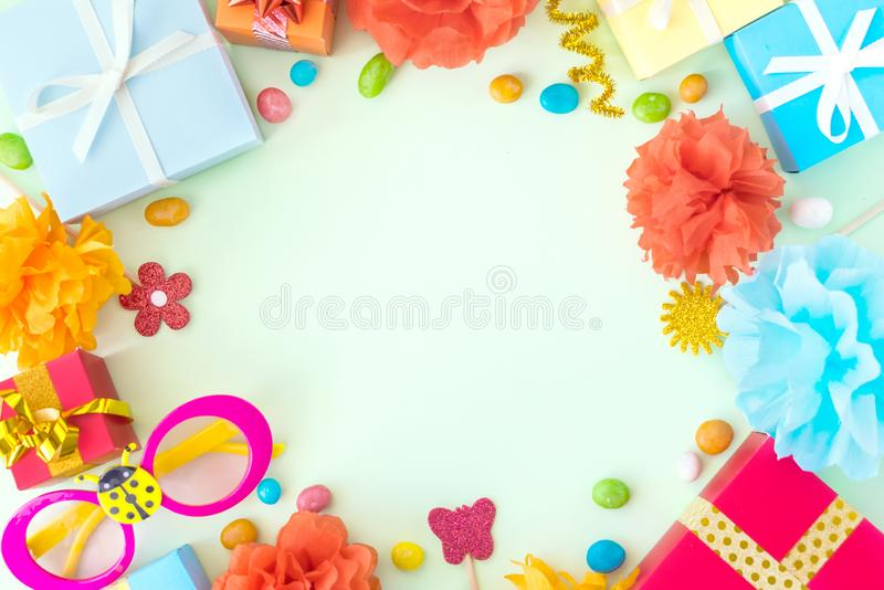 Birthday party background with festive decor, carnival glasses, royalty free stock photos