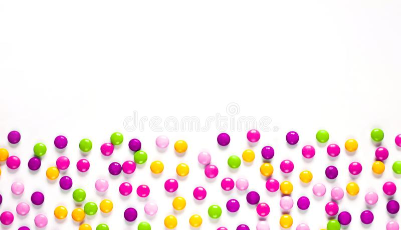 Birthday party background with multicolored candy royalty free stock images