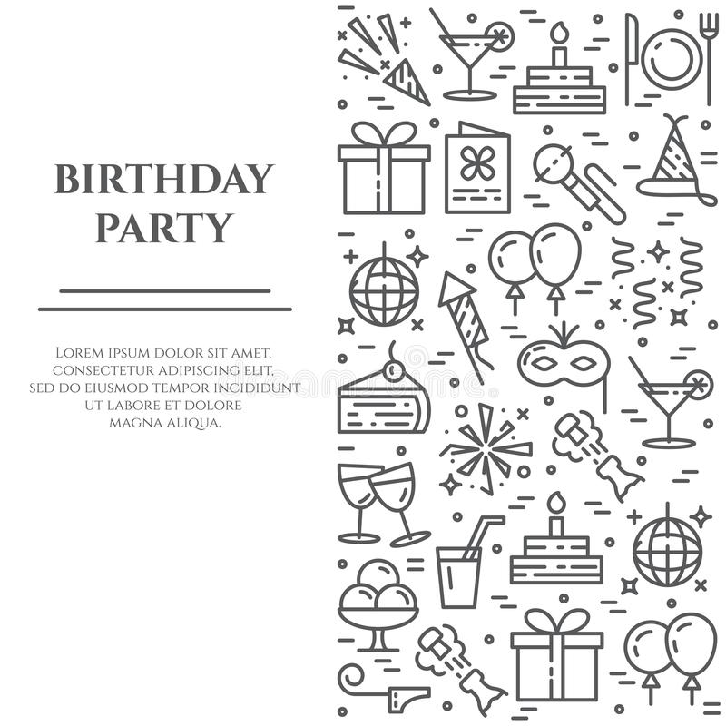 Birthday party banner with line icons with editable stroke in form ofvertical rectangle. royalty free illustration
