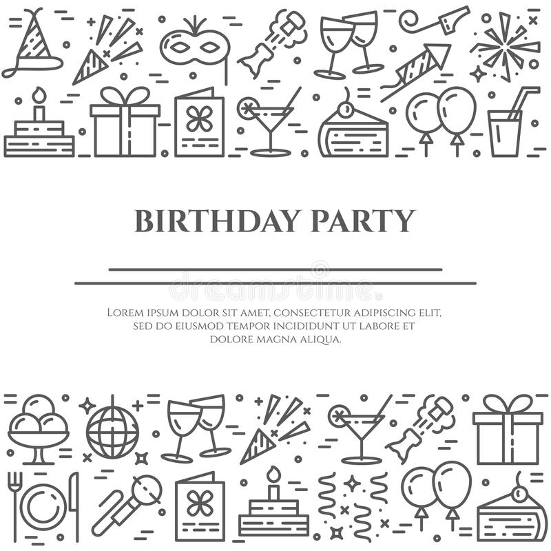 Birthday party banner with two horizontal lines of line icons with editable stroke. Different elements for invitation or congratulation card in minimalistic vector illustration