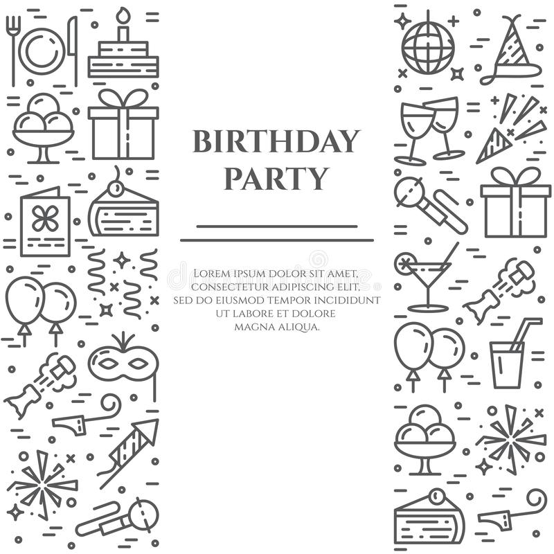 Birthday party banner with two vertical lines of line icons with editable stroke. vector illustration