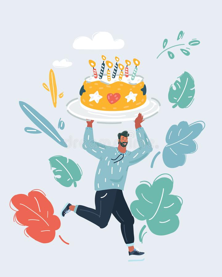 Birthday party big cake cartoon. vector illustration