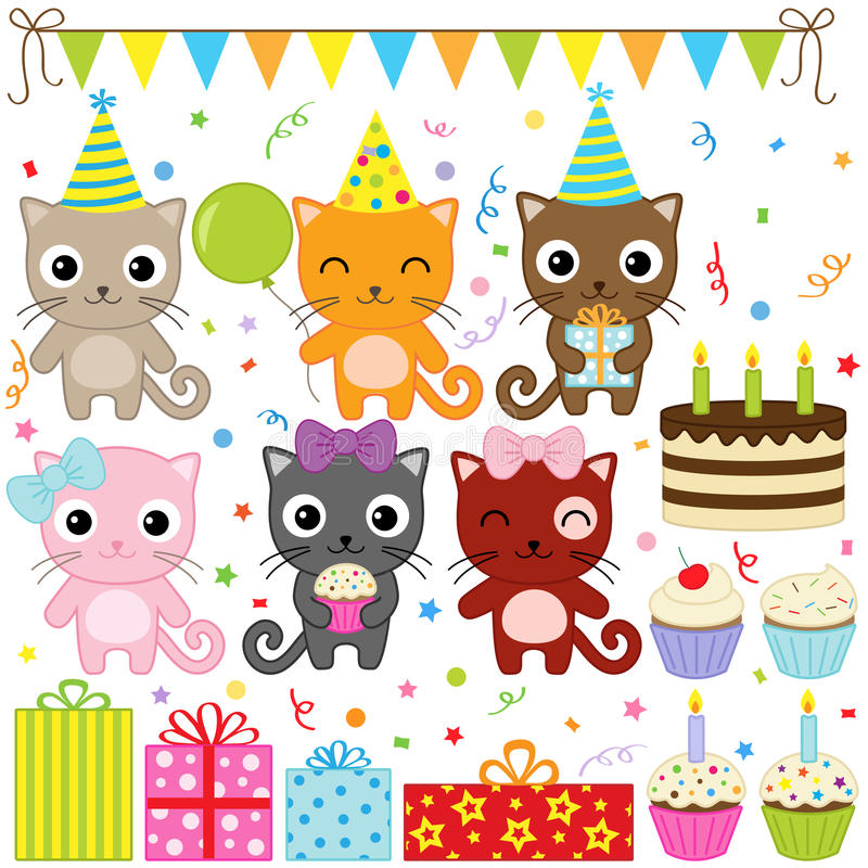 Birthday Party Cats stock illustration