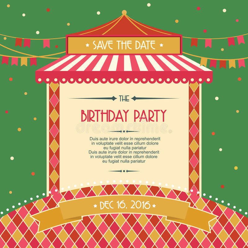 Birthday Party Celebration Card Invitation Vector Illustration Stock