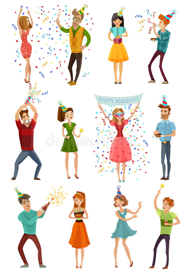 Birthday Party Celebration Funny People Set stock illustration
