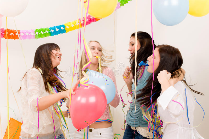 Birthday party celebration - woman with confetti. Birthday party celebration - four woman with confetti have fun, toast, dance stock photography