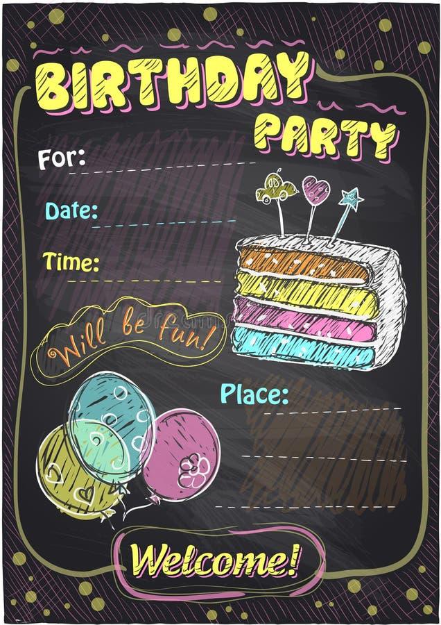 Birthday party chalkboard design. stock illustration