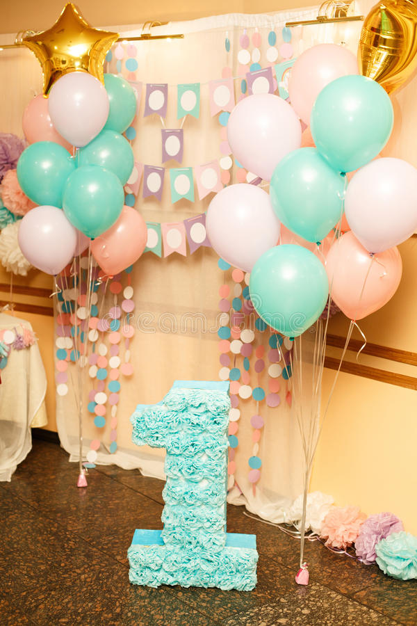 Birthday party for child one years old royalty free stock photography