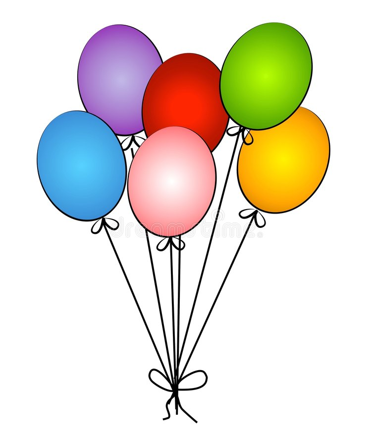 Birthday Party Circus Balloons. An illustration of 6 balloons isolated on a white background in red, blue, green, purple, pink and yellow with string dangling royalty free illustration