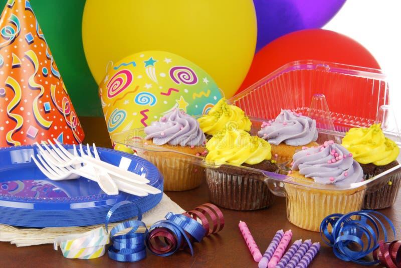 Birthday party cupcakes stock photo