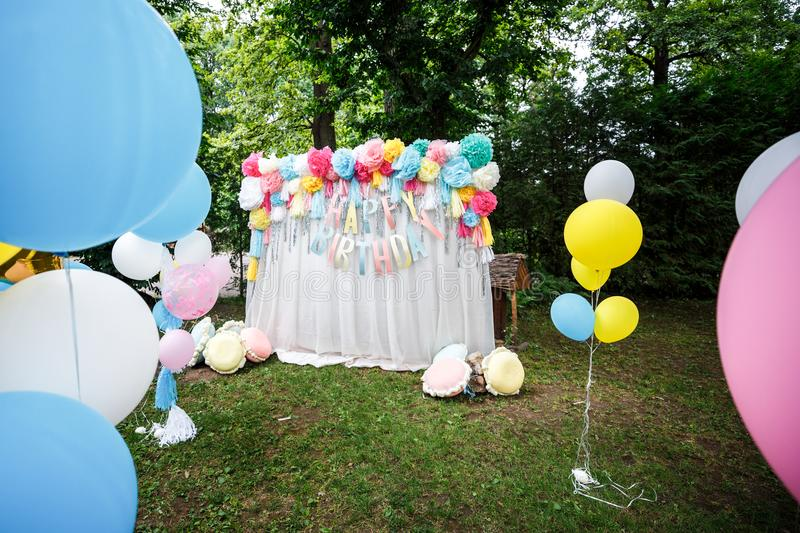 Birthday party decor balloons royalty free stock images