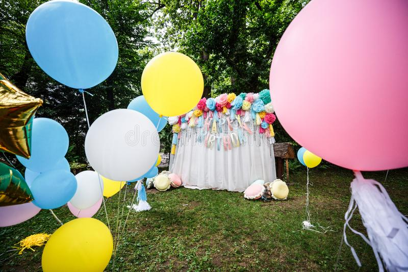 Birthday party decor balloons stock images
