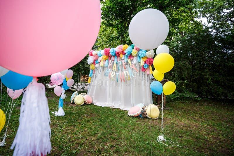 Birthday party decor balloons royalty free stock image