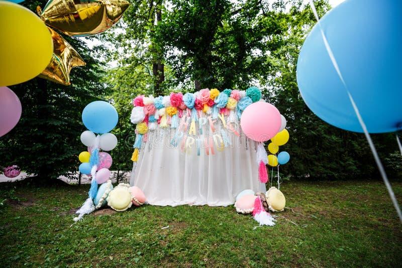 Birthday party decor balloons stock photography