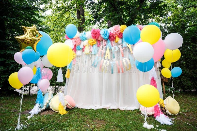 Birthday party decor balloons stock photo