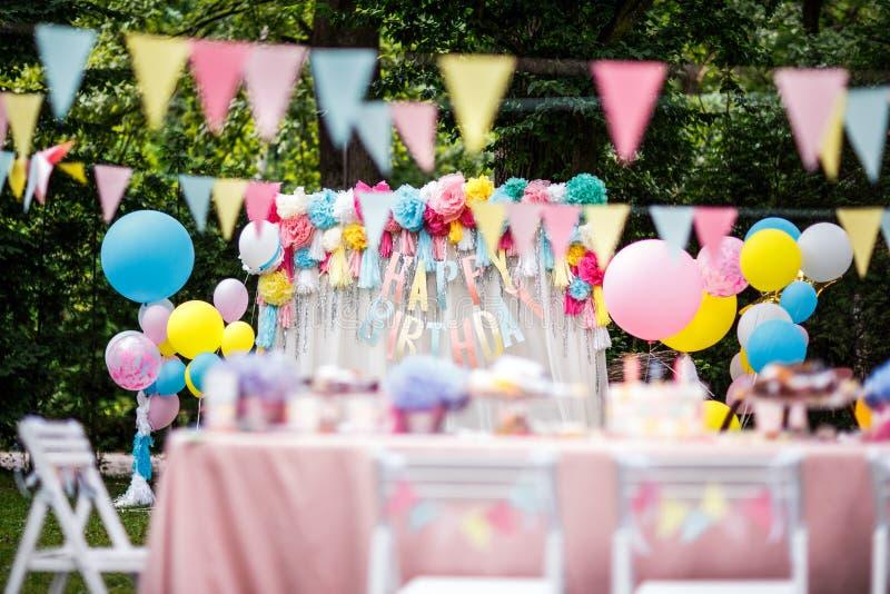 Birthday party decor balloons stock photos