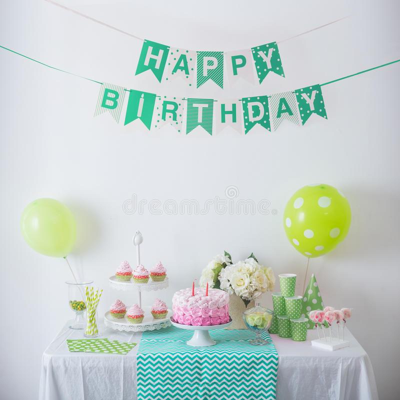 Birthday party decoration royalty free stock photography