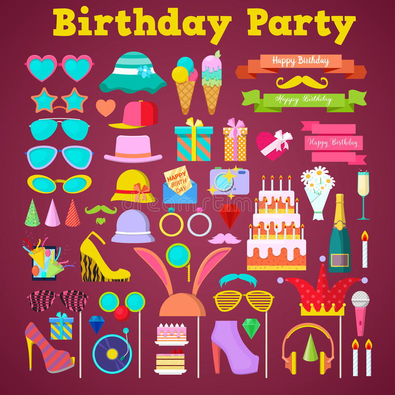 Birthday Party Decoration Set with Photo Booth Elements and Cake vector illustration