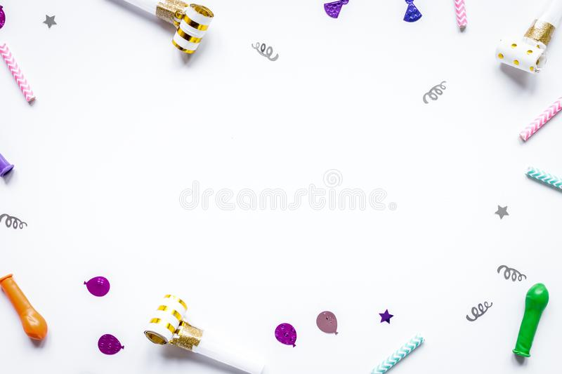 Birthday party design with confetti top view space for text. Birthday party design with colorful confetti on white table background top view space for text royalty free stock photography