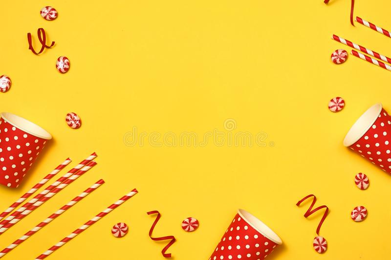 Birthday party design with confetti top view space for text.  stock photos