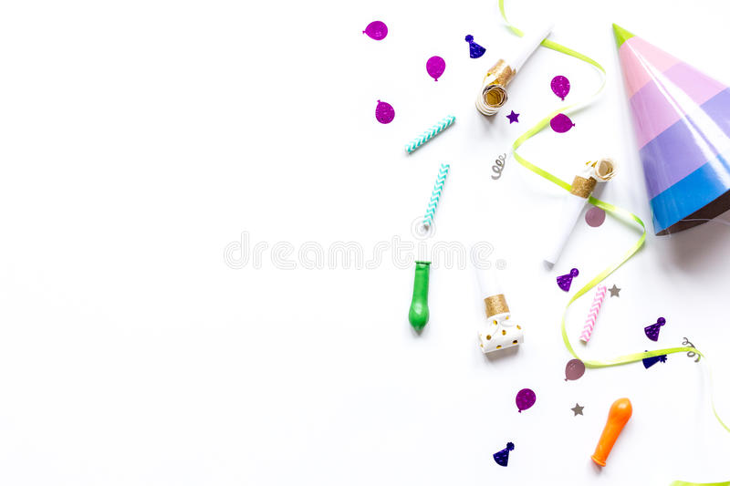 Birthday party design with confetti top view space for text. Birthday party design with colorful confetti on white table background top view space for text royalty free stock photos